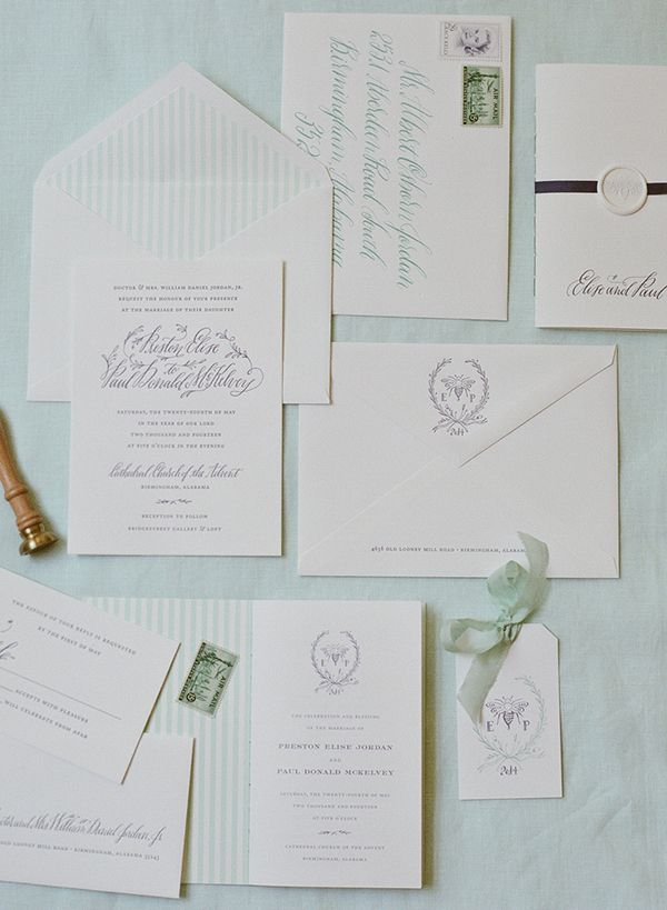 make your own wedding invitations online free%0A Mint and Navy Calligraphy Wedding Invitations