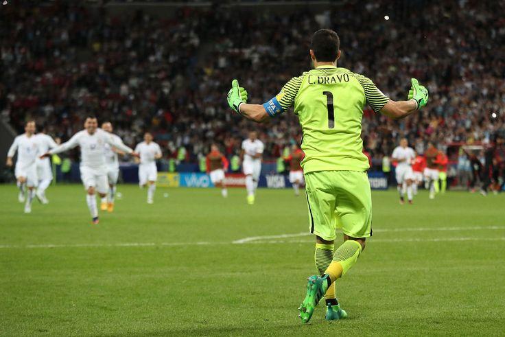 Bravo saves three penalties.