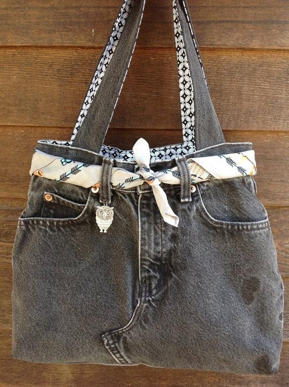 Owl Black Jean Bag Quality Handmade by CreativeSewingSue on Etsy, $42.95