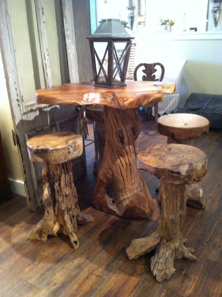 Log cabin bar with stools