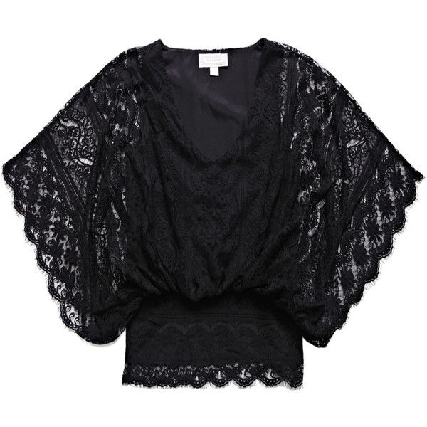 Beyond Vintage Dolman-sleeve lace blouse (150 AUD) ❤ liked on Polyvore featuring tops, blouses, shirts, scalloped shirt, loose shirts, v neck shirt, dolman-sleeve tops and loose blouse