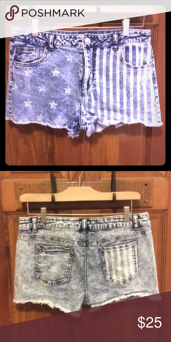 Size 13 High Rise USA Shorts High rise denim shorts from Target with Stars and Stripes detailed, slightly distressed and acid washed. Super cute and never worn! Perfect for all those summer holidays and concerts! Mossimo Supply Co. Shorts Jean Shorts
