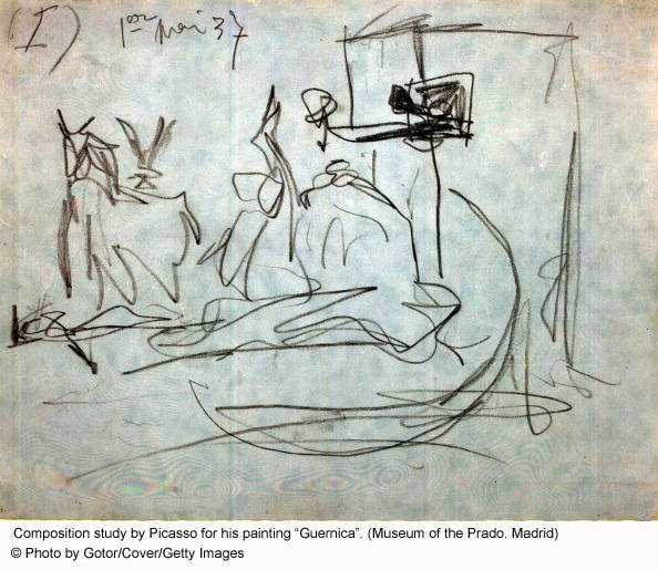 One of Picasso's composition sketches that he used to plan 'Guernica' in 1937.