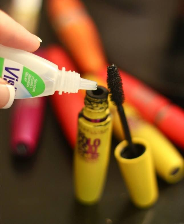 I found out that I can now make the dry mascara into liquid again with only few drops of saline solution, or better saying eyedrops. Whenever you see that your mascara has start getting dry, simply add 3-4 eye drops in it and you will see how it will turn into liquid again.