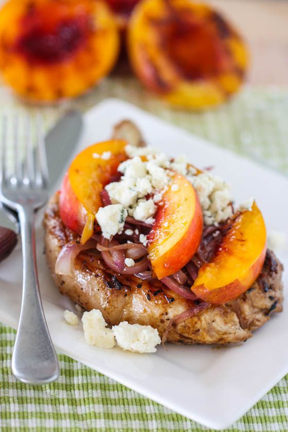pork chops with grilled nectarines, caramelized onions, and gorgonzola cheese