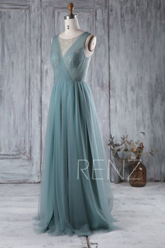 Dusty Blue Bridesmaid Dress Long A Line Wedding Dress Tulle with Golden Shimmer Illusion Prom Dress Floor Length (HS309)