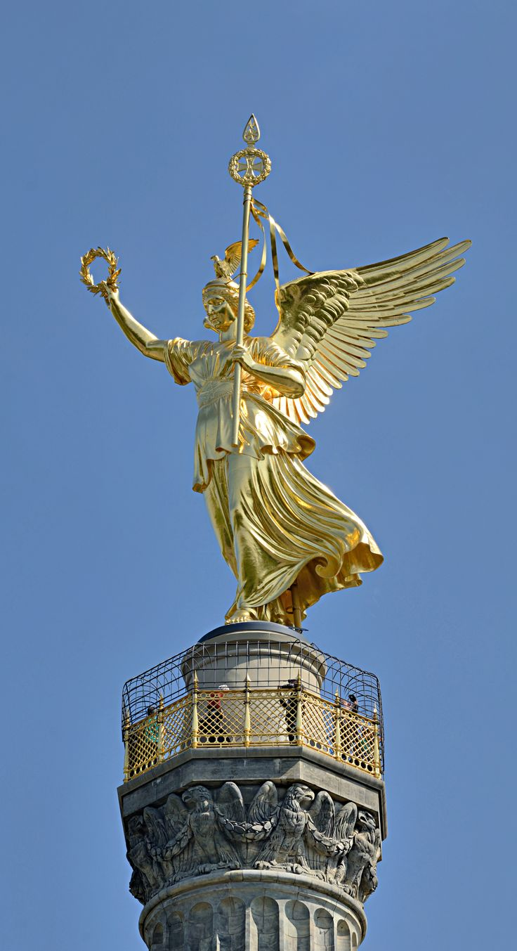 Victoria Statue on top of the Berlin Victory Column. She was the personified goddess of victory in ancient Roman religion and the Roman equivalent of the Greek goddess Nike, also was associated with Bellona. She was adapted from the Sabine agricultural goddess Vacuna and had a temple on the Palatine Hill. Victoria is often described as a daughter of Pallas, Styx, sister of Zelus, Kratos, Bia. Multiple temples were erected in her honor. She was worshiped by triumphant generals returning from…