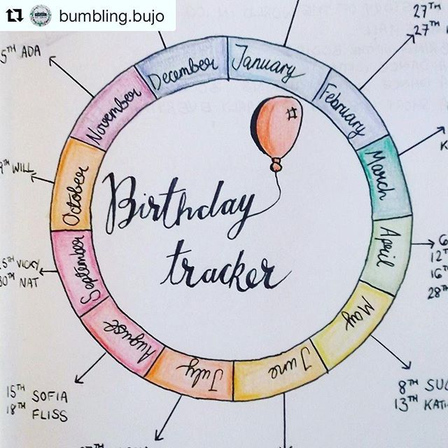 Love this #calendarwheel inspired #birthday #tracker from @bumbling.bujo #Repost @bumbling.bujo (via @repostapp) ・・・ My finished birthday tracker! It turned out super cute :heart_eyes: . . . . (I've cropped out the actual birthdays to protect everyone's p