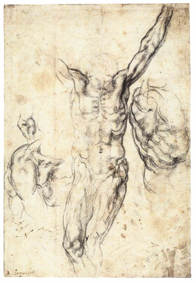 Studies for the Crucifixion - Michelangelo