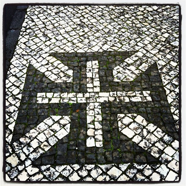 "Sidewalk, Pavement Portuguese, ""Cross of Christ"" (Calçada Portuguesa, ""Cruz de…"