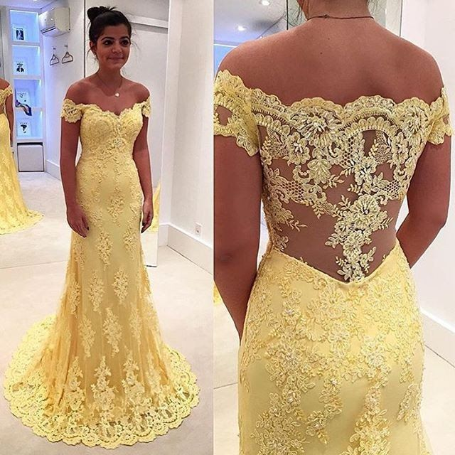 Arabic Light Yellow Lace Evening Gowns Mermaid Off Shoulder Floor Length Long Prom Wedding Guest Dresses