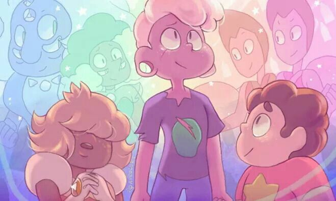 Rhodonite, Fluorite, The Rutile Twins, and the Padparadscha Sapphire, Lars and Steven. - Sophie  Source: http://steven-universe-art.deviantart.com/art/It-s-ok-to-be-scared-sometimes-683480167