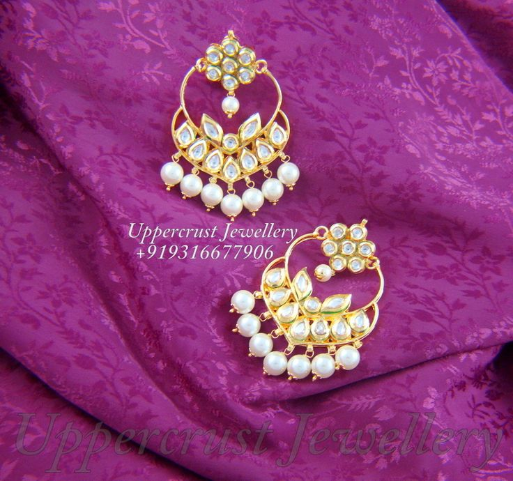 Kundan chandbali style earring for ur traditional attires, adorn one and feel like a queen, available at www.facebook.com/uppercrust.jewellery