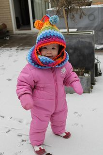 Harlequin Hoodie ~  combination hat and scarf!  (free pattern download)