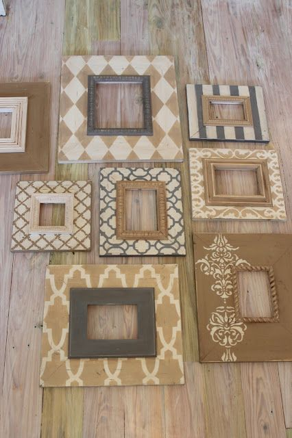 Delta Girl Distressed Frames -  diy with cardboard around plain thrift store frames and then stencil with milk paint.. lightly sand with fine grit sandpaper or a crumpled paper bag.