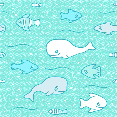 Whales and fish in a dotted sea fabric by nossisel on Spoonflower - custom fabric