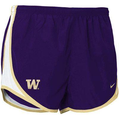 Nike Washington Huskies Women's Purple Plaid Tempo Performance Shorts