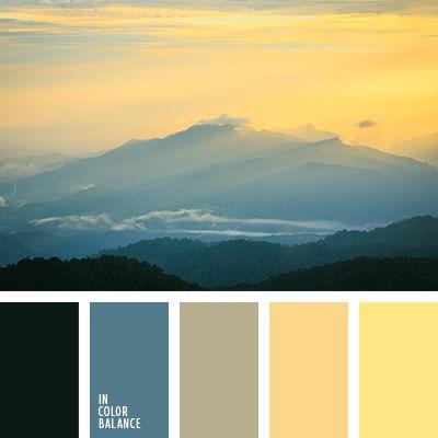 """""""пыльный"""" оранжевый, """"пыльный"""" синий, болотный, грязный коричневый, кремово-оранжевый, почти черный цвет, рассвет в горах, синий, солнечный желтый, сочетание холодных и теплых тонов, темно-синий, цвет заката, цвета рассвета, яркий желтый."""