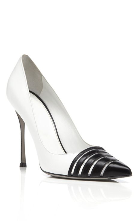 Shop White & Black Claire Pumps by Sergio Rossi for Preorder on Moda Operandi