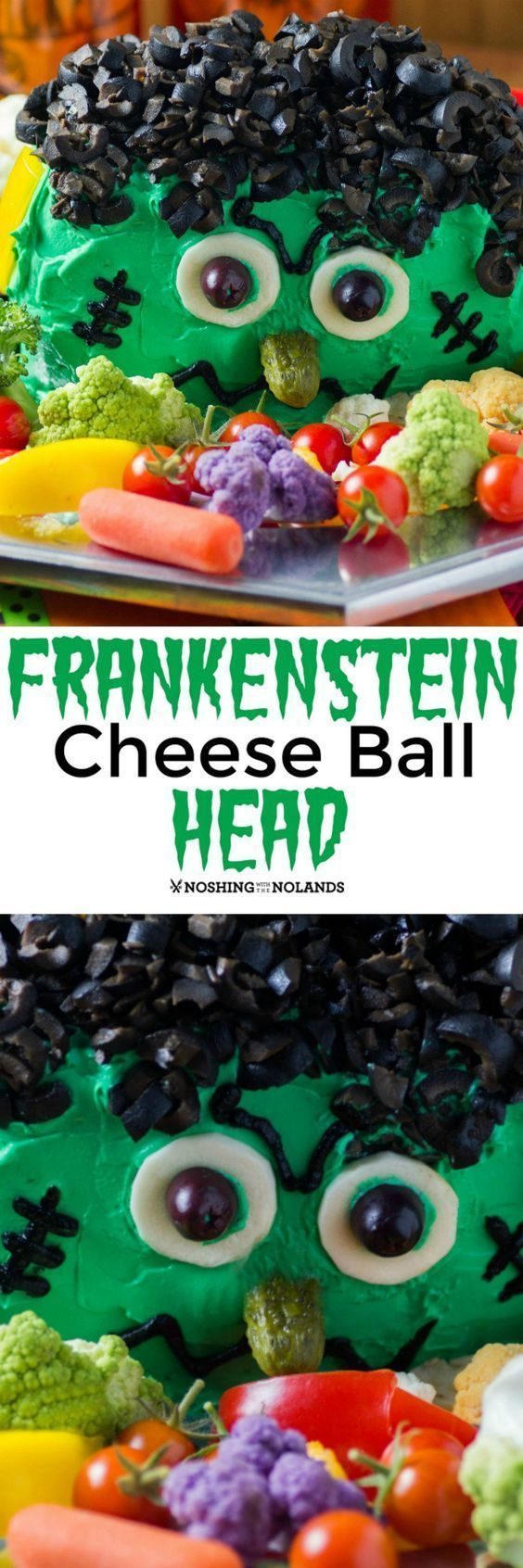 Frankenstein Cheese Ball Head by Noshing With The Nolands will be a hit at any Halloween party with a creamy dip inside!