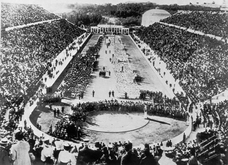 First modern Olympic Games, Athens, 1896. Panathenaic Stadium. Also used in the 2004 Olympics as the Archery Venue and the finish site for the Marathon.