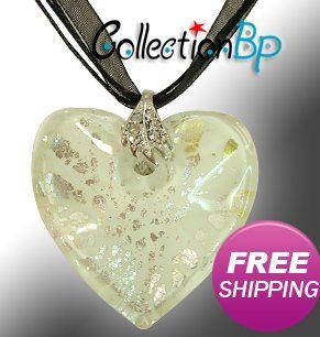 КРАСНАЯ ЗМЕЯ Мода Муранского Стекла Белый Щепка Сердце Ожерелье для мамы Подарки