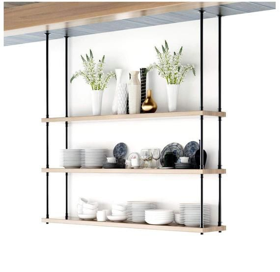3 Tiers Shelve 12 Depth Hanging From Ceiling Urban Etsy Kitchen Storage Shelves Shelves Shelving