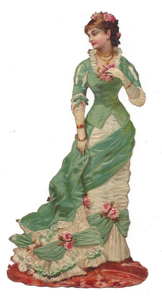 Victorian Die Cut Scrap Elegant Woman of Fashion