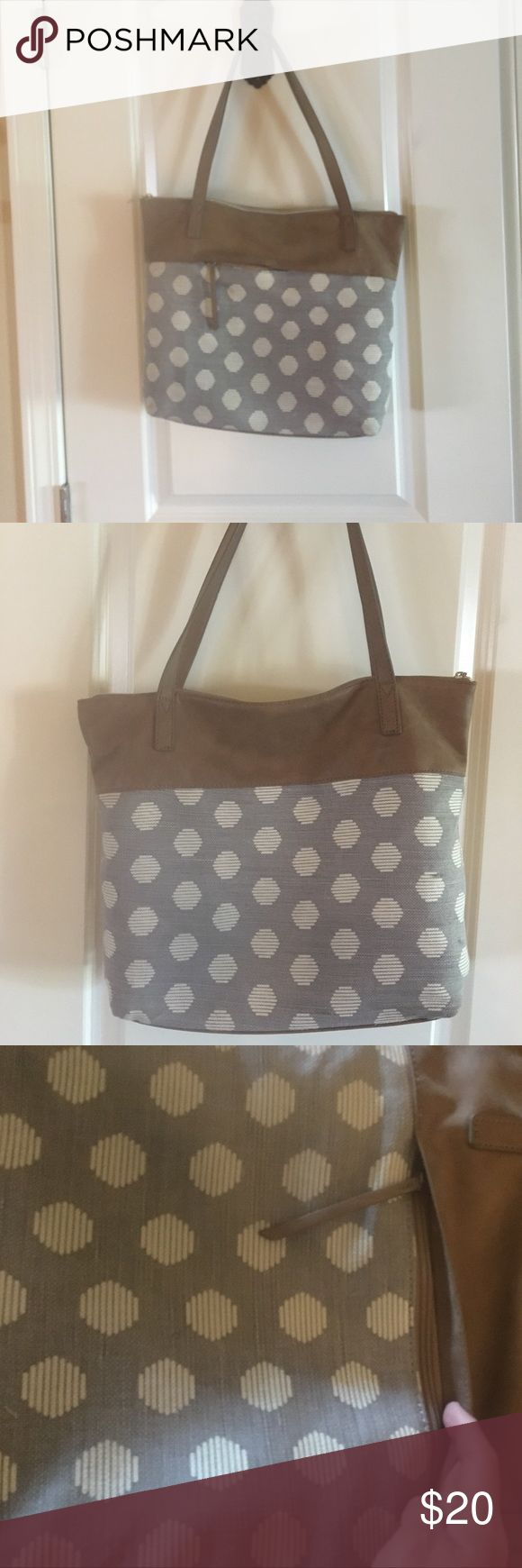 Cute gray and brown polka dot purse Used for a few months.  Normal wear from everyday use but overall in great condition.  No stains found on inside.  Very tiny spots on one side that could probably be wiped off with Chlorox wipe.  Not real leather Kim Rogers Bags Shoulder Bags