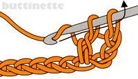 Häkeln - Stäbchen: halbes Stäbchen, aber nur durch zwei der drei schlagen, dann nochmal Masche um alles