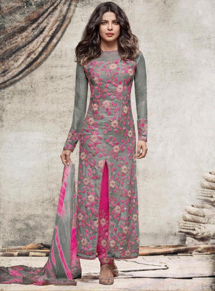 Priyanka Chopra Gray Georgette Pant Style Suit 88232