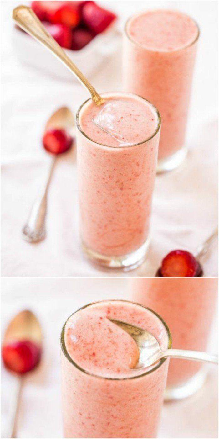 un smoothie minceur aux fraises, une recette délicieuse qui évoque l été