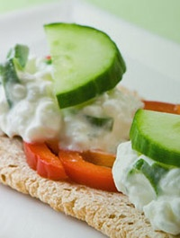 Cruskits with capsicum, cucumber and a dollop of cottage cheese.
