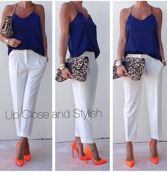 White pants- How to wear it now- with pops of color in a sleeveless top and pointed toe heels