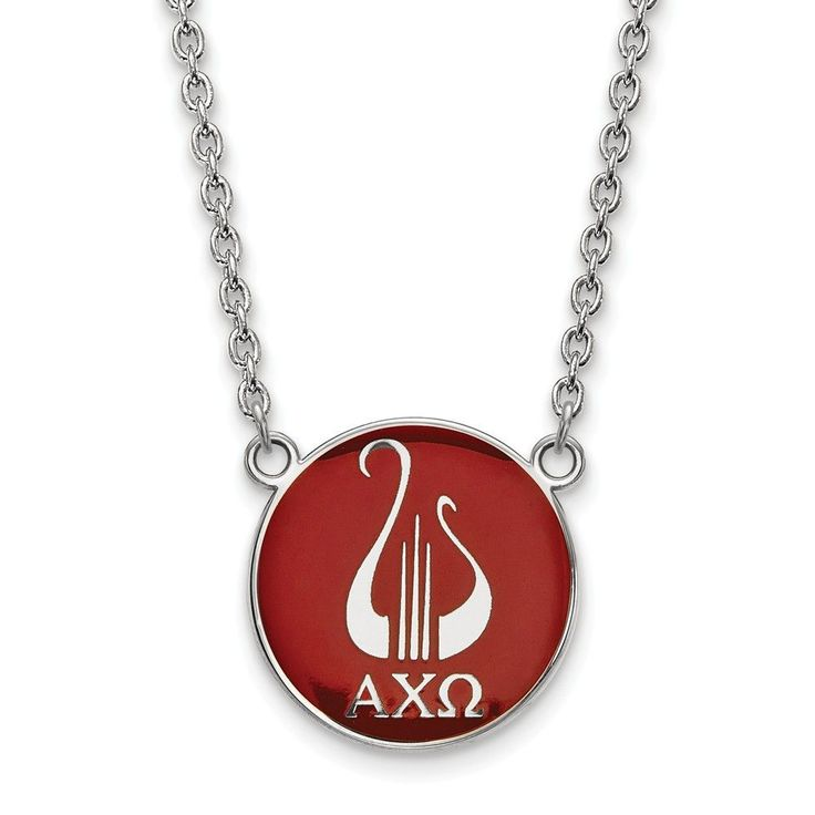 Sterling Silver LogoArt Alpha Chi Omega Small Enl Pend w/Necklace