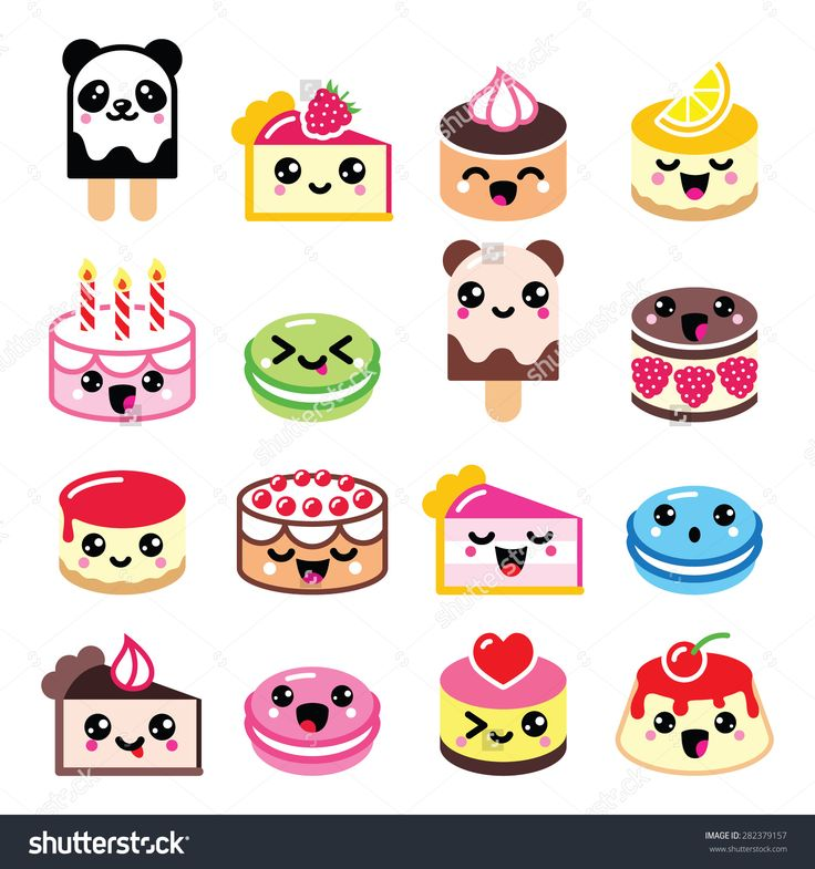 Cute Kawaii Dessert - Cake, Macaroon, Ice-Cream Icons Stock Vector Illustration 282379157 : Shutterstock