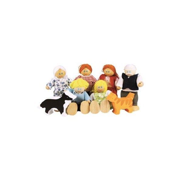 """Personaggi-famiglia delle bambole  Set personaggi """"Famiglia"""": mamma, papà, nonno, nonna,2 figli, un cane e un gatto,figure in legno."""