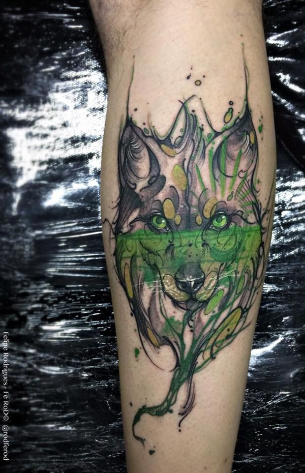 Watercolor tattoo Felipe Rodrigues lobo                                                                                                                                                                                 Mais
