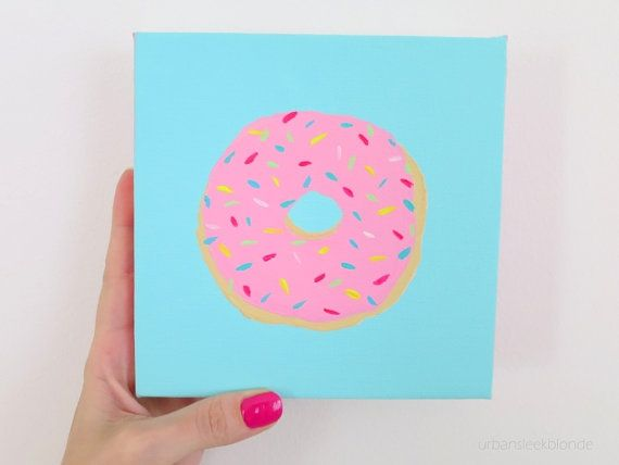 Donut Painting Mini Canvas Pink With Sprinkles On A Mint Background Yummy