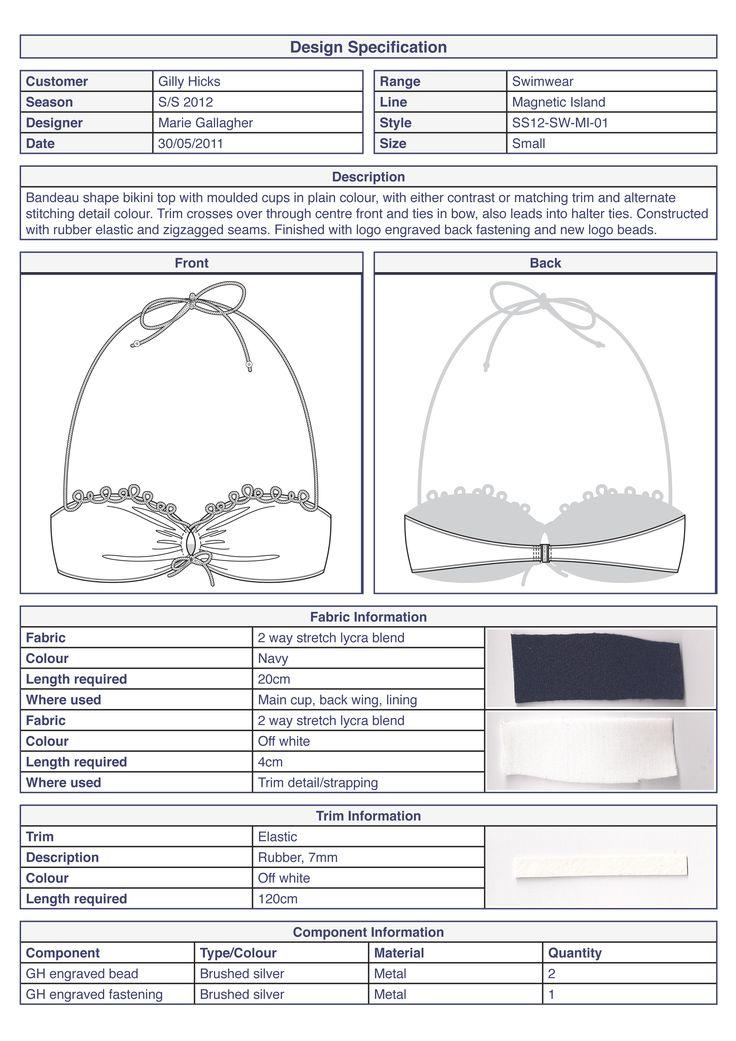 Bikini top basic technical specification #swimwear by Marie Gallagher