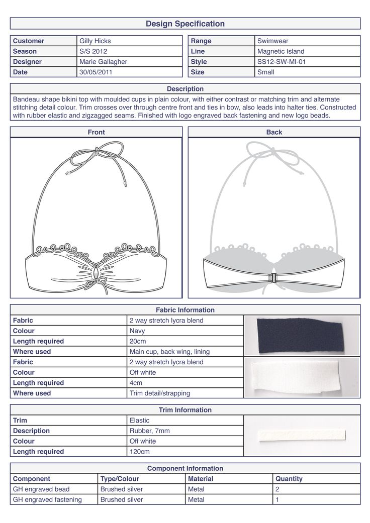 technical specification template example - bikini top basic technical specification swimwear by