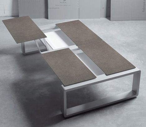 KAMA QUATTRO : modular, multi-position lounge table. Ideal for LapTop, Low Dining use or just for coffee !!  http://www.furniture-egoparis.com/the-range/the-collections/kama-collection-code-em5/kama-quattro-modular-table
