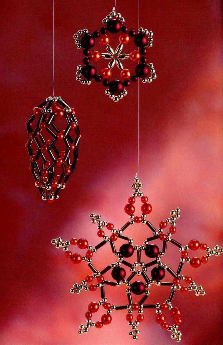 Christmas snowflake ornaments - Christmas Snowflake With Beads And Wire