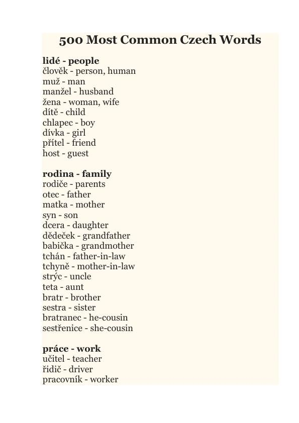 You Can Begin Your Way Into The Czech Languange With These 500 Most Important Czech Words Words Father In Law Mother In Law