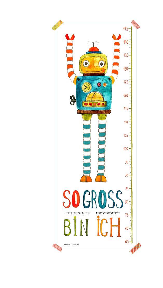 """Messlatte mit Roboter als Poster für Kinder & Kinderzimmer.  Messlatte von 65-145 cm, mit handgemaltem Roboter und Schriftzug """"So groß bin ich"""".   Hochwertiger Druck auf stabilem & schönem..."""