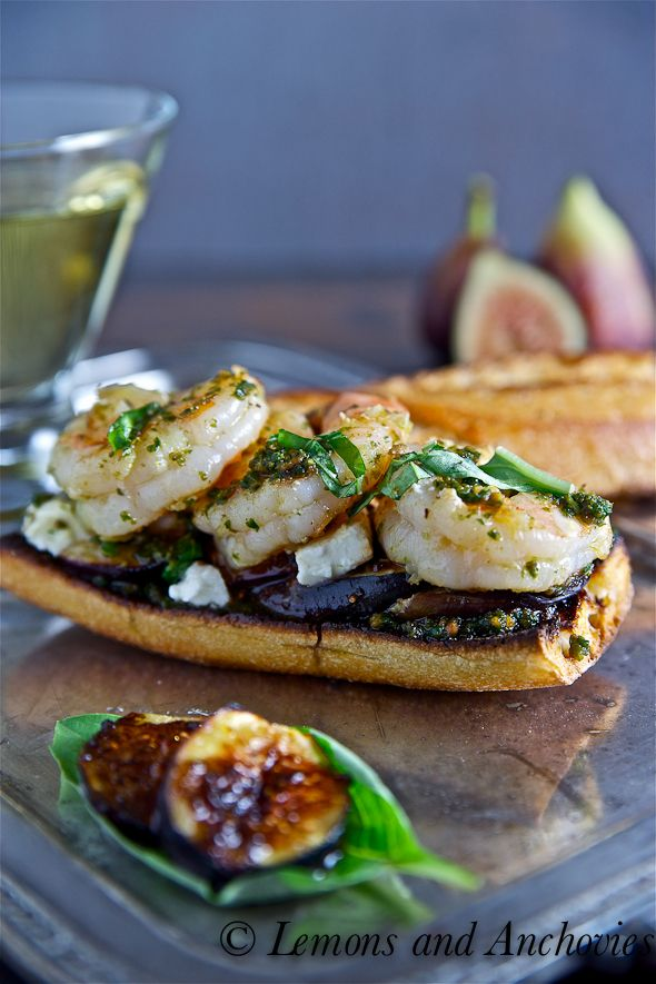 Prawn, Pesto, Fig and Feta Sandwich