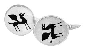 Black Pegasus cufflinks in sterling silver and resin - $370