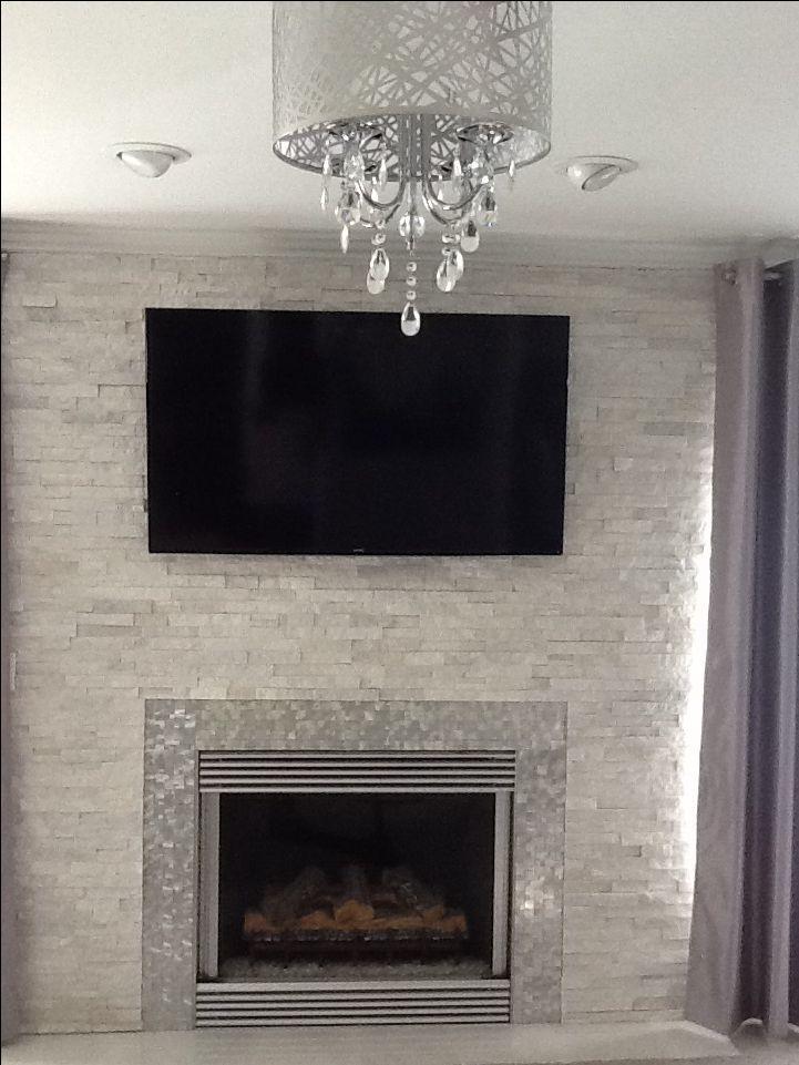 Best Modern Contemporary White Quartz Ledger Stone Fireplace 400 x 300