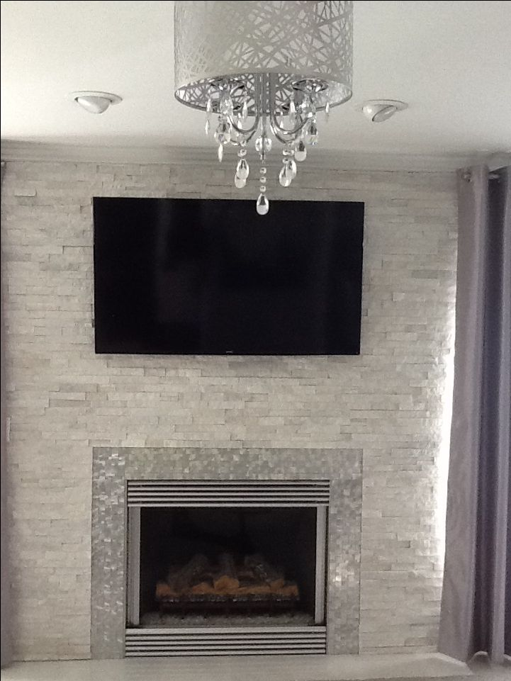 Modern Contemporary White Quartz Ledger Stone Fireplace Anatolia Glacier Starfire Glass