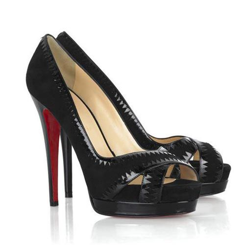 Christian Louboutin Very Jaws 140 Peep toe Pumps Yellow black christian louboutin on sale louboutin pumpschristian louboutin storeshuge inventory